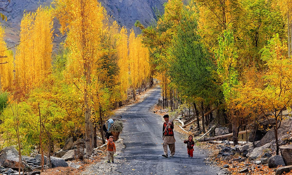 Road in Skardu in autumn