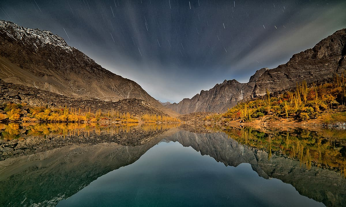 Upper Kachura lake at night
