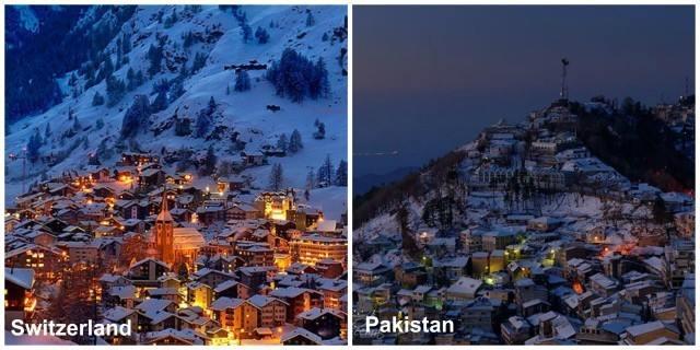 Night view of Murree in winter season
