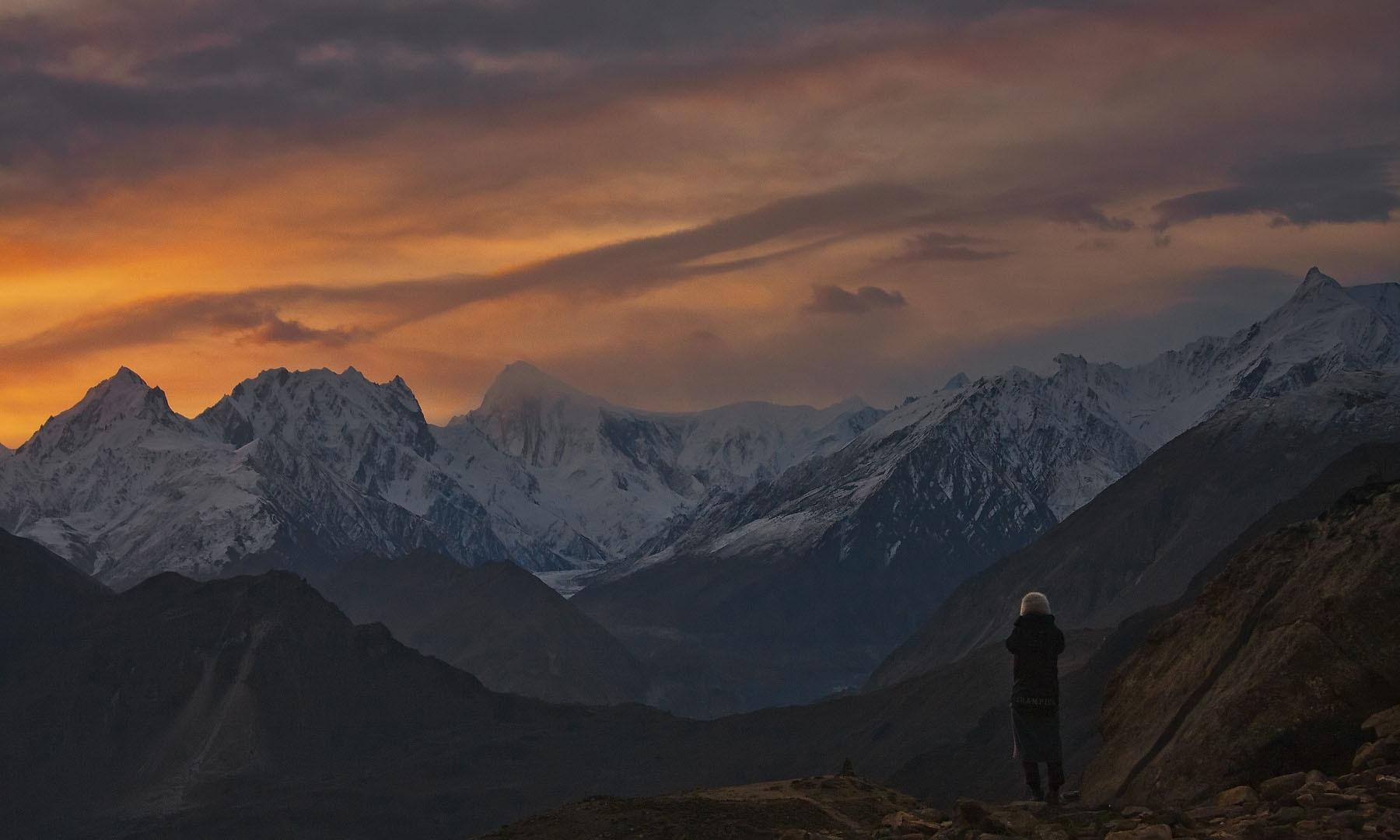 View of Nagar from Hunza at dusk
